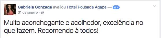 Gabriela Depoimento Hotel Agape